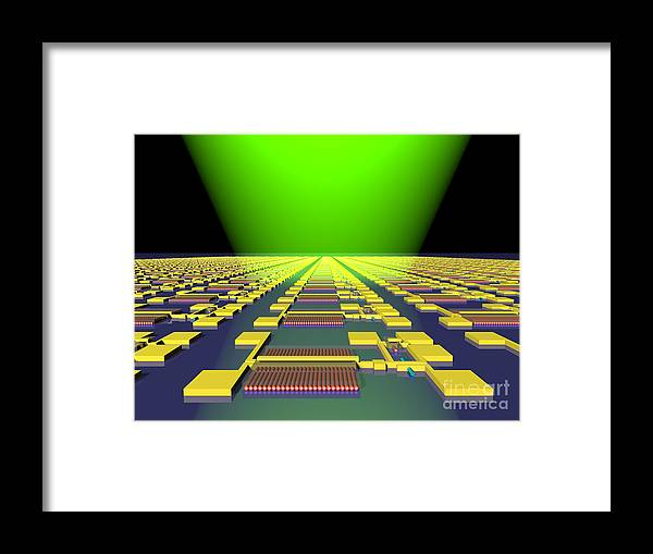 Science Framed Print featuring the photograph Integrated Nanowire Sensor Circuitry by Science Source