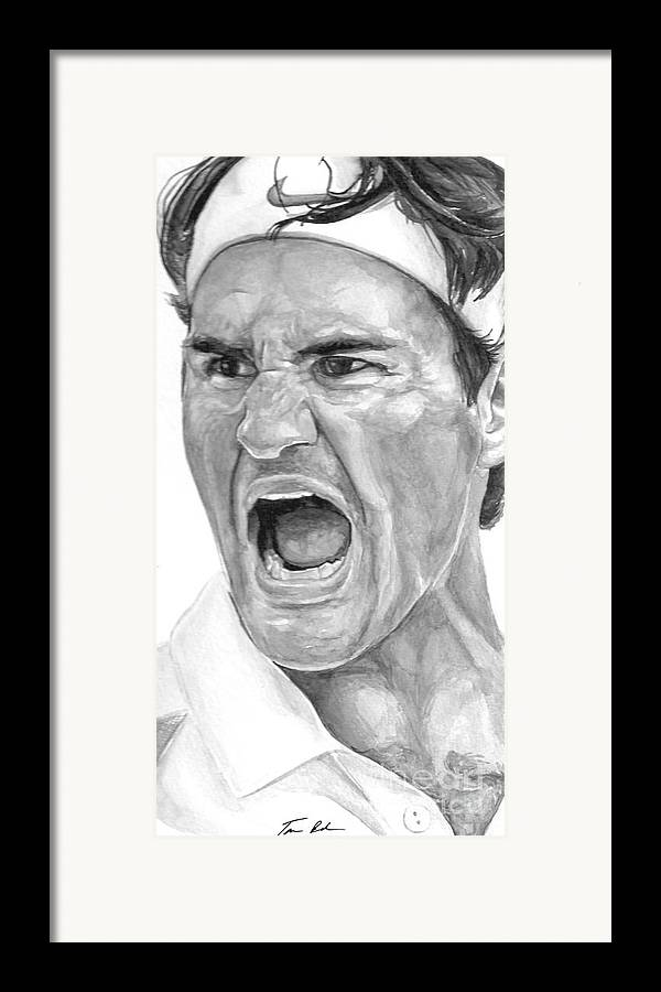 Federer Framed Print featuring the painting Intensity Federer by Tamir Barkan