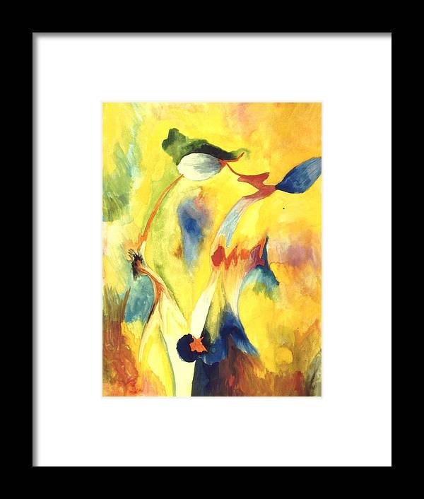 Abstract Framed Print featuring the painting Interactions by Peter Shor