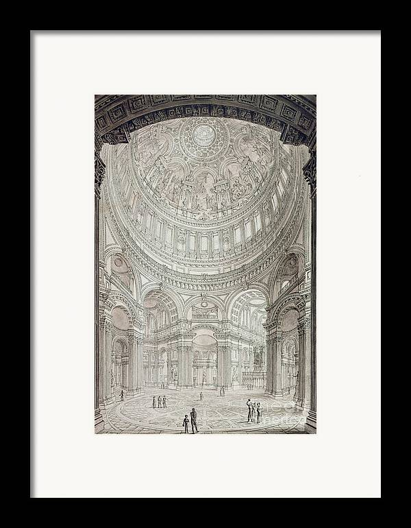 Church; Architecture; Dome; Baroque; Christopher Wren Framed Print featuring the drawing Interior Of Saint Pauls Cathedral by John Coney