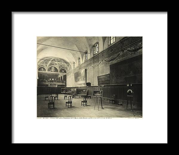 Wall; Fresco; Ecclesistical Interior; Vaulted Ceiling; Da Vinci; Refectory; Convent Framed Print featuring the painting Interior Of The Dining Hall Of The Church Of Santa Maria Delle Grazie Milan by Alinari