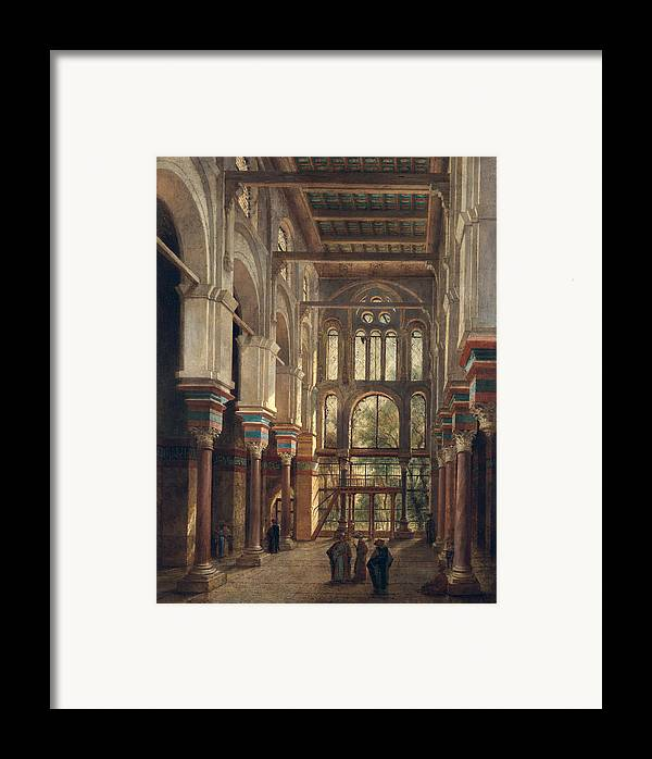 Interior Framed Print featuring the painting Interior Of The Mosque Of El Mooristan In Cairo by Adrien Dauzats