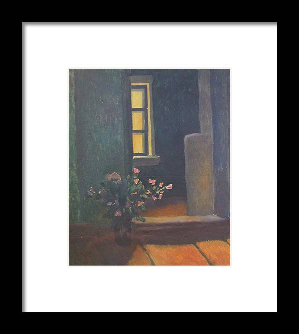 Bouquet Of Flowers Framed Print featuring the painting Interior With A Bouquet by Andrey Soldatenko
