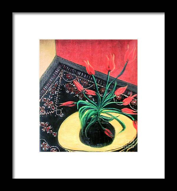 In My Childhood Home Framed Print featuring the painting Interiors by Duygu Kivanc