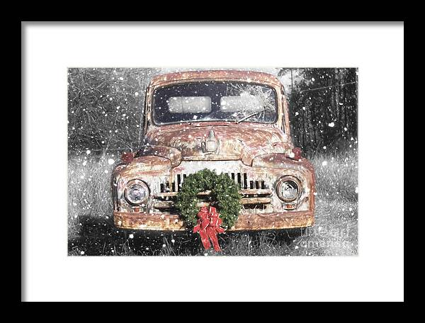 International Truck Framed Print featuring the photograph International Christmas Snow by Benanne Stiens