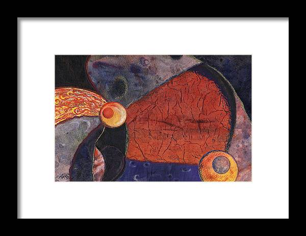 Abstract Framed Print featuring the painting Interplanetary 2 by Anne Marie ODriscoll