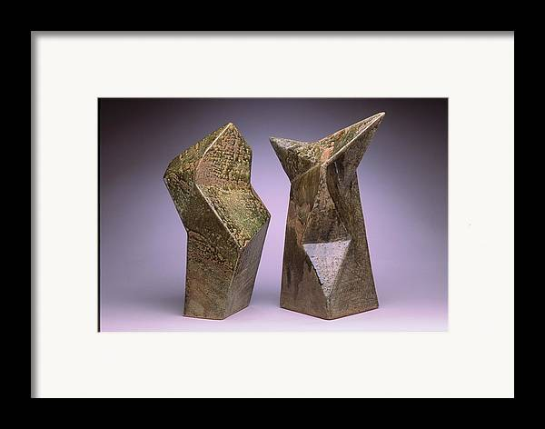 Slab Built Cone 6 Stoneware Framed Print featuring the sculpture Interrelated Forms by Stephen Hawks