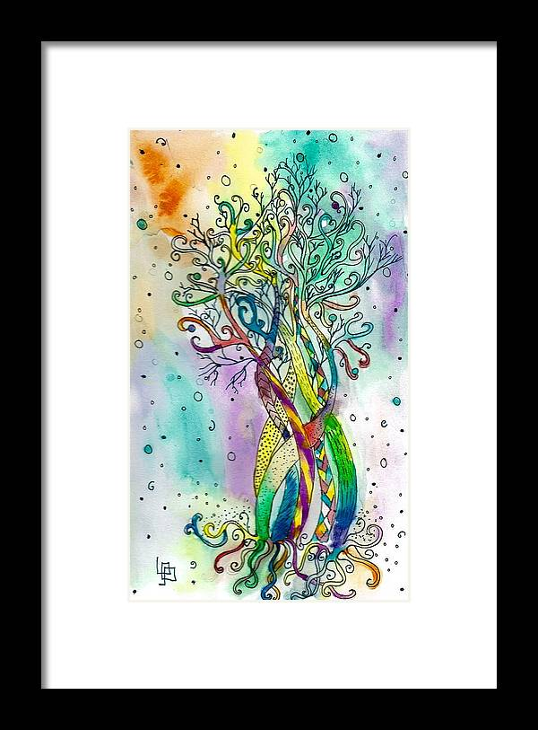 Tree Framed Print featuring the painting Intertwined by Lorna Lowe