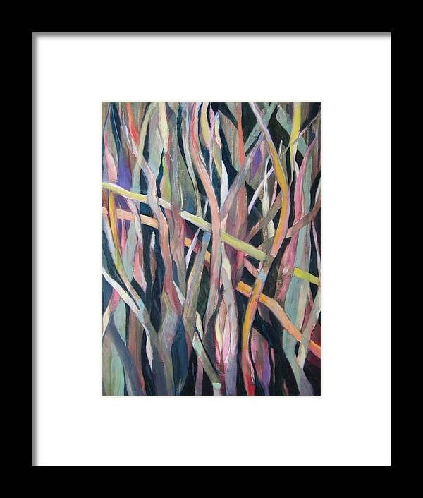 Abstract Framed Print featuring the painting Intertwined by Vicki Brevell