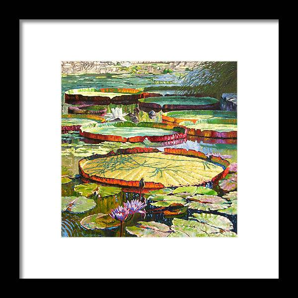 Garden Pond Framed Print featuring the painting Interwoven Beauty by John Lautermilch