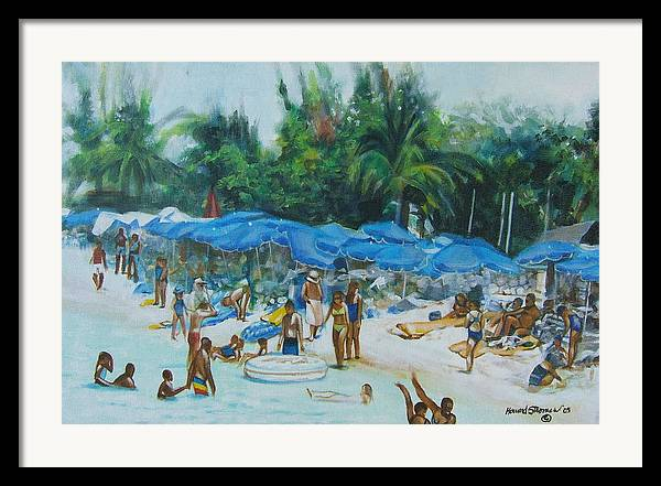 At The Beach Framed Print featuring the painting Intimacy On Vacation by Howard Stroman