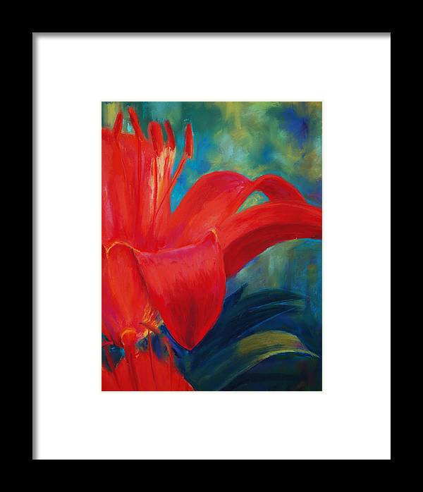 Flower Framed Print featuring the painting Intimate Lilly by Billie Colson