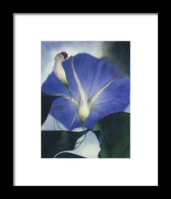 Morning Glory Framed Print featuring the painting Into The Blue by Nancy Ethiel