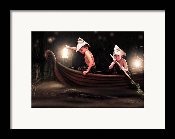 Boys Framed Print featuring the photograph Into The Bog by Jeremy Martinson