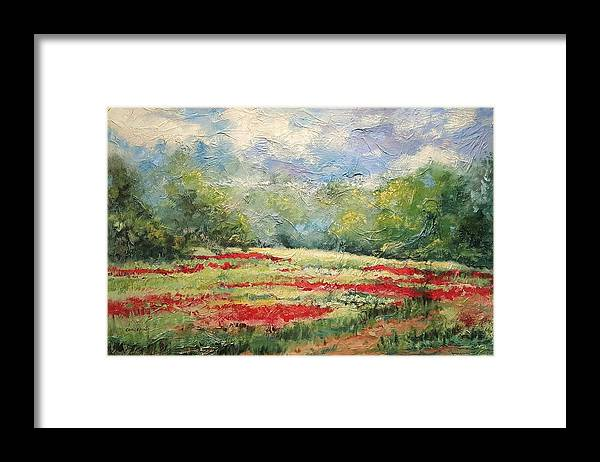 Clover Pastures Framed Print featuring the painting Into the Clover by Ginger Concepcion