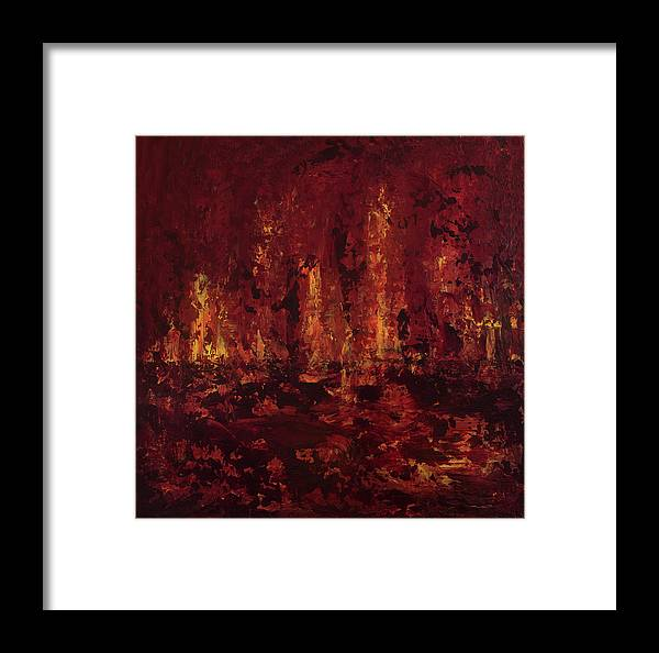 Abstract Framed Print featuring the painting Into The Fire by K Batson Art