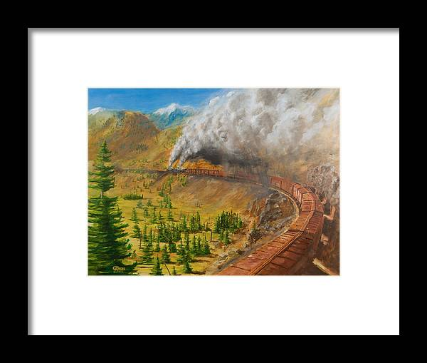Train Framed Print featuring the painting Into The Front Range by Christopher Jenkins
