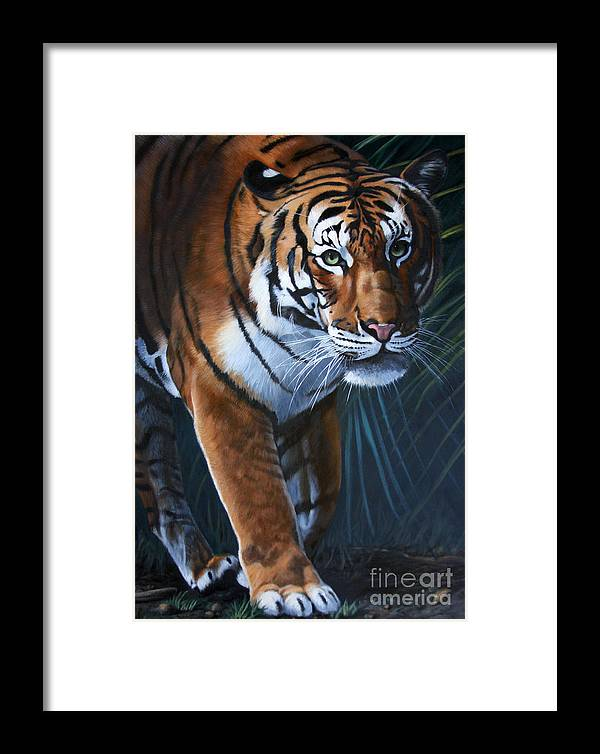 Tiger Framed Print featuring the painting Into The Glade by Deb LaFogg-Docherty
