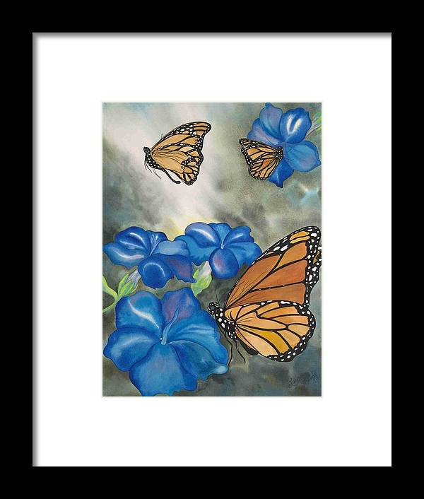 Butterflies Flowers Morning Glories Maui Tropical Hawaii Framed Print featuring the painting Into The Light by Laura Mango