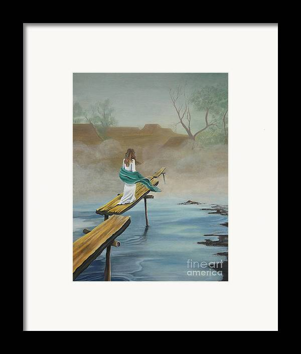 Water Framed Print featuring the painting Into The Mist by Kris Crollard