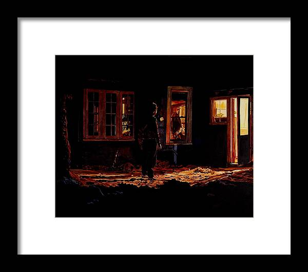 Night Framed Print featuring the painting Into The Night by Valerie Patterson