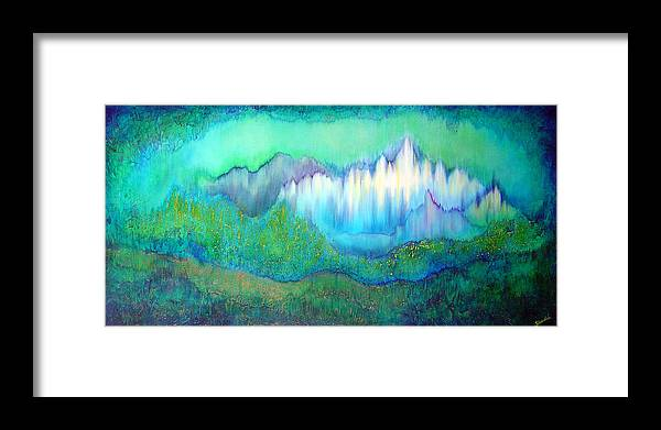 Blue Framed Print featuring the painting Into The Ocean by Shadia Derbyshire