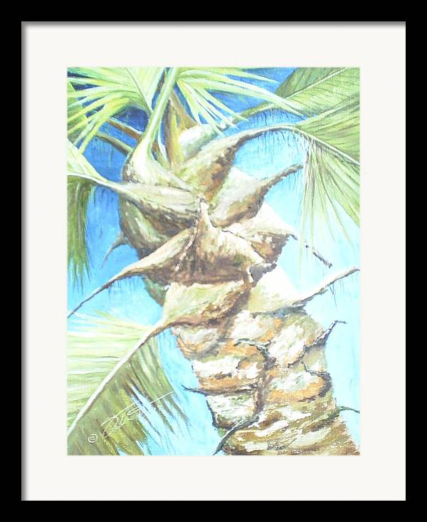Palm Framed Print featuring the painting Into The Palm by Dennis Vebert