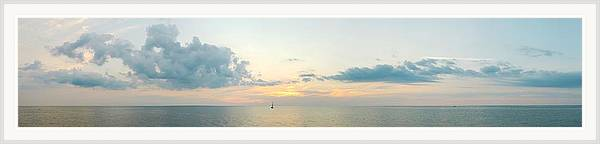 Sailboat Framed Print featuring the photograph Into the Sunset Lake Michigan Panorama by M Urbanski
