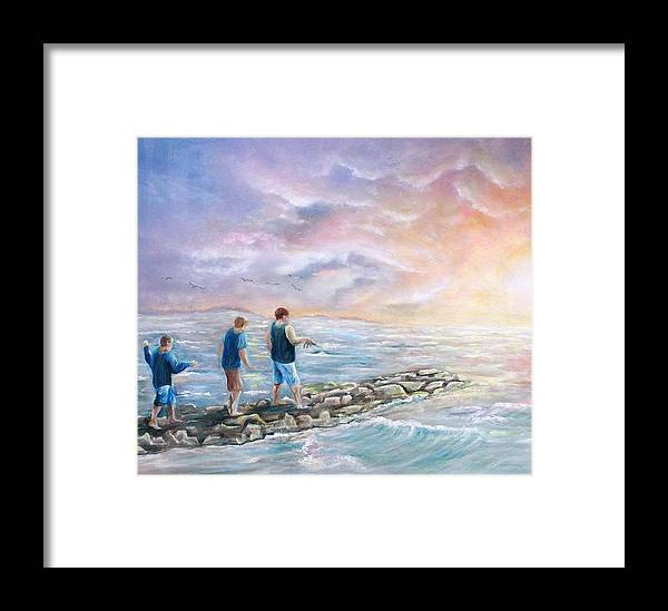 Seascape Framed Print featuring the painting Into The Sunset by Renee Dumont Museum Quality Oil Paintings Dumont