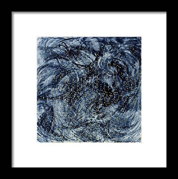 Painting Black Pattern Yellow Square White Grey Swirls Framed Print featuring the painting Into The Universe by Joan De Bot