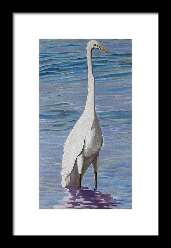 Florida Birds Framed Print featuring the painting Intracoastal Sentinel  Great Egret by D T LaVercombe