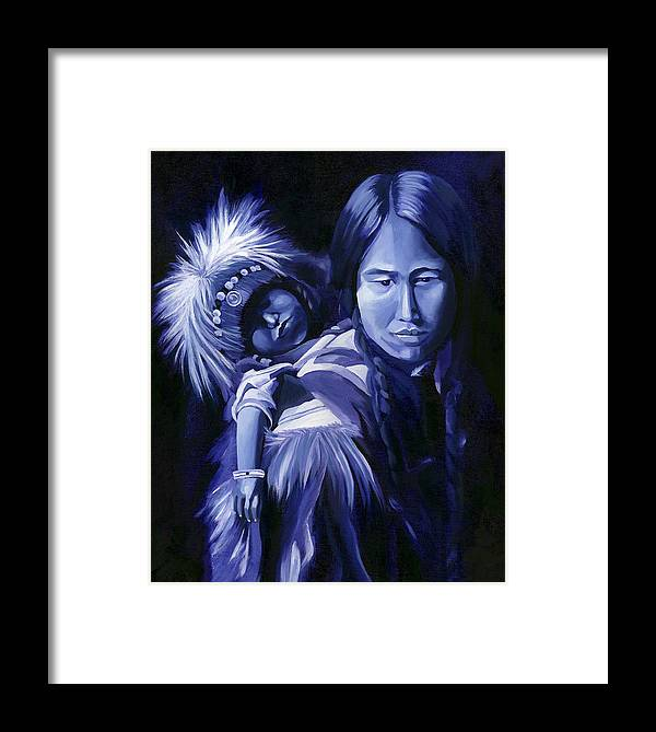 Native American Framed Print featuring the painting Inuit Mother And Child by Nancy Griswold