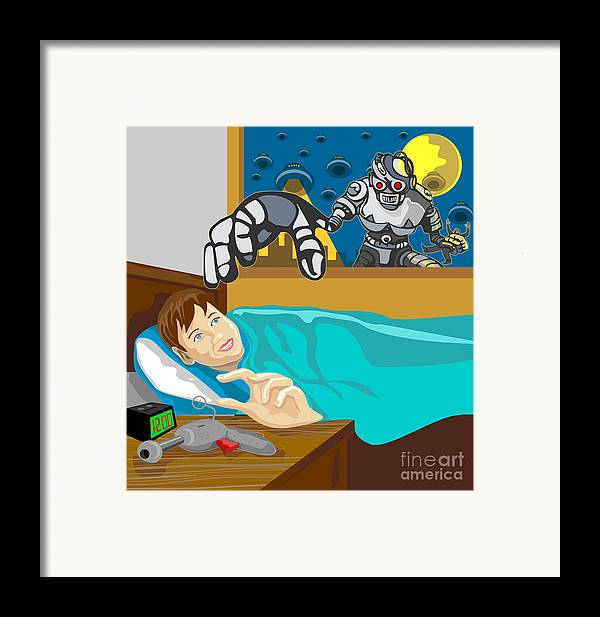 Robot Framed Print featuring the digital art Invading Alien Robot by Aloysius Patrimonio