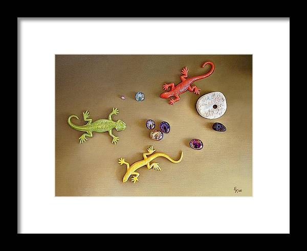 Still Life Framed Print featuring the painting Invasion by Elena Kolotusha
