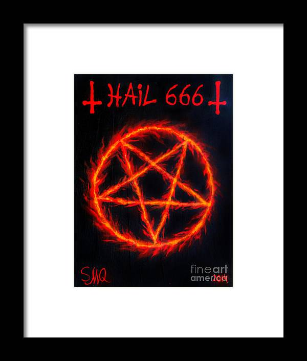 Inverted Pentagram Hail 666 Framed Print By Sofia Metal Queen