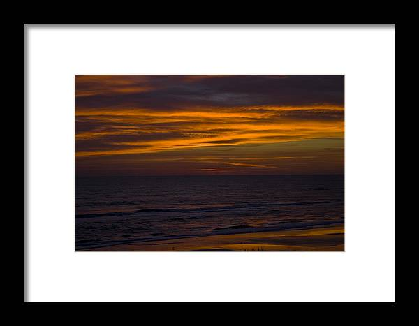 Beach Ocean Water Wave Waves Sky Cloud Clouds Sunrise Gold Golden Reflection Sand Framed Print featuring the photograph Invisible Presence by Andrei Shliakhau