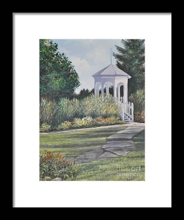 Laurel Arts Gazebo Framed Print featuring the painting Invitation At Laurel Arts by Penny Neimiller
