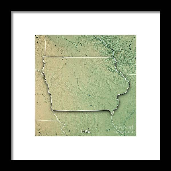 Iowa State Usa 3d Render Topographic Map Border Framed Print By