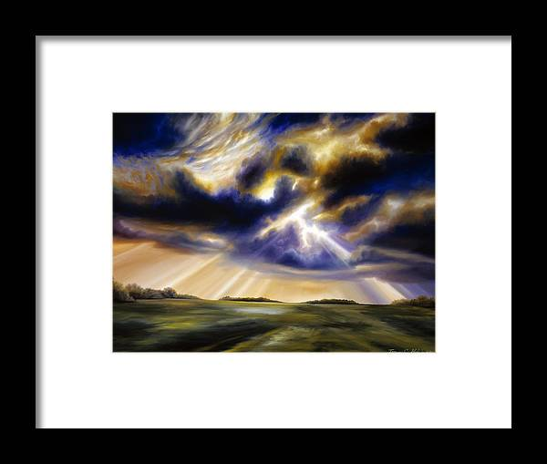 Sunrise; Sunset; Power; Glory; Cloudscape; Skyscape; Purple; Red; Blue; Stunning; Landscape; James C. Hill; James Christopher Hill; Jameshillgallery.com; Ocean; Lakes; Storms; Lightning; Rain; Rays; God Framed Print featuring the painting Iowa Storms by James Christopher Hill