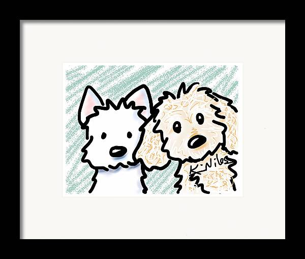 Ipad Art Framed Print featuring the painting iPaws by Kim Niles