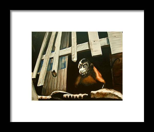 Monkey Framed Print featuring the painting Iquitos Monkey by Chris Slaymaker