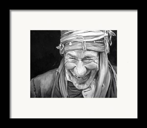 Man Framed Print featuring the painting Iranian Man by Enzie Shahmiri