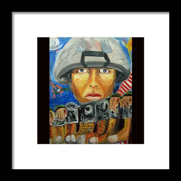 Soldier Framed Print featuring the painting Iraq Where The Young Became Old by Dominic Angarano
