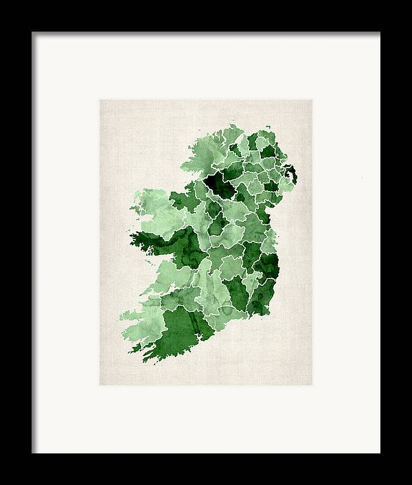 Ireland Map Framed Print featuring the digital art Ireland Watercolor Map by Michael Tompsett