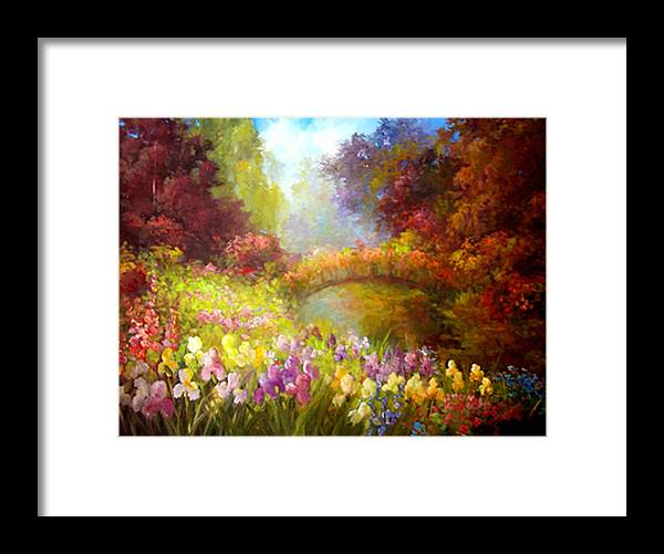 Floral Framed Print featuring the painting Iris-- Covered Bridge by Gail Salitui