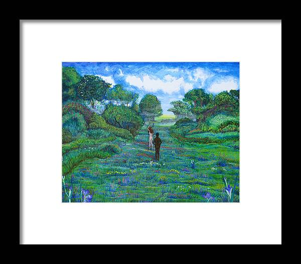 Landscape Framed Print featuring the painting Iris And Vern by Tom Hefko