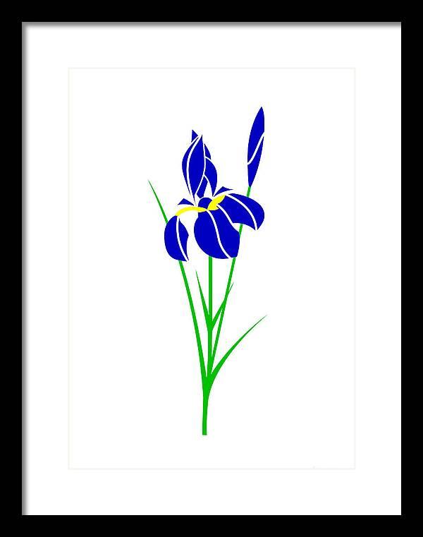 Iris Framed Print featuring the digital art Iris by Asbjorn Lonvig