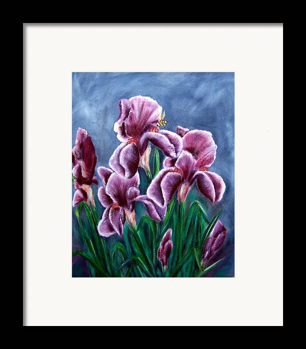 Floral Framed Print featuring the painting Iris Awakens by Penny Everhart