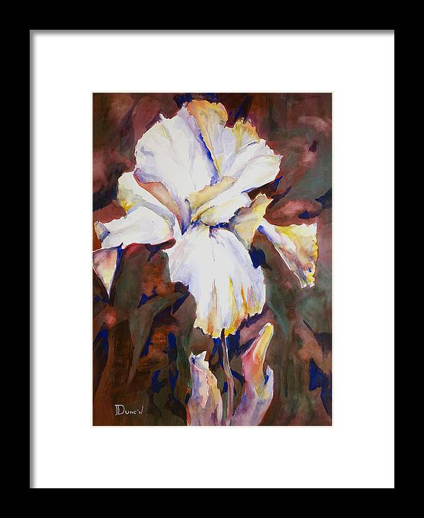 Iris Study Framed Print featuring the painting Iris by Bob Duncan