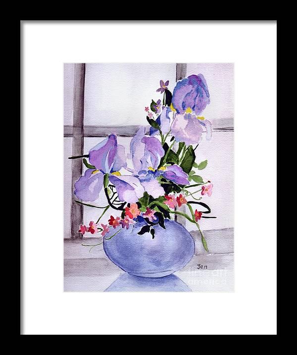 Iris Framed Print featuring the painting Iris Bouquet by Ann Gordon